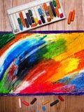 Dibujo de pasteles colorido del aceite Fotografía de archivo libre de regalías