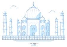 Dibujo de Taj Mahal, estilizado, azul, mausoleo en la ciudad de Agra, la India ilustración del vector