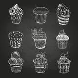 Dibujo de tiza Conjunto de tortas Foto de archivo libre de regalías