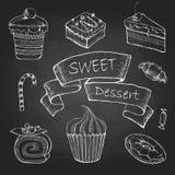 Dibujo de tiza Conjunto de tortas Fotografía de archivo libre de regalías