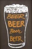 Dibujo de tiza del vidrio de cerveza Fotografía de archivo libre de regalías