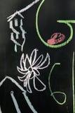 Dibujo de tiza en fondo de la pizarra fotografía de archivo