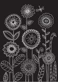 Dibujo de tiza en la pizarra Flores stock de ilustración