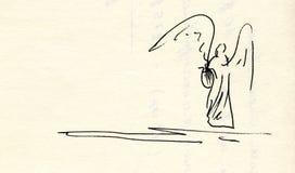 Dibujo de un ángel con la lira Imagen de archivo libre de regalías