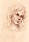 Dibujo de un detalle más bajo del ingenio del cordón de la mujer de labios y de la barbilla con los ornamentos, en fondo abstract Imagenes de archivo