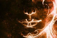 Dibujo de un detalle más bajo del ingenio del cordón de la mujer de labios y de la barbilla con los ornamentos, en fondo abstract Fotos de archivo libres de regalías