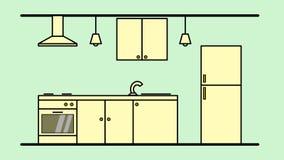 Dibujo de un diseño interior de una disposición de la cocina fotografía de archivo