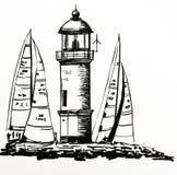 Dibujo de un faro de piedra hermoso en una isla, entre los yates amarrados durante una regata, ejemplo a mano del vector Fotos de archivo