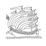 Dibujo de un galeón romano de la nave medieval libre illustration