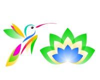 Dibujo de un logotipo del colibrí y del loto stock de ilustración