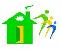 Dibujo de un logotipo de la casa de la familia ilustración del vector