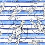 Dibujo de un modelo inconsútil en un tema marino, cáncer, langosta, cangrejo de la acuarela del río, con las rayas azules, ondas, stock de ilustración