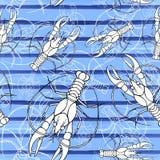 Dibujo de un modelo inconsútil en un tema marino, cáncer, langosta, cangrejo de la acuarela del río, con las rayas azules, ondas, libre illustration