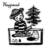Dibujo de un pequeño muchacho en una camiseta y una Panamá rayadas que se sientan en la salvadera en el patio, jugando, COM del b Fotos de archivo libres de regalías