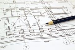 Dibujo de un plan de piso del edificio Imagen de archivo libre de regalías