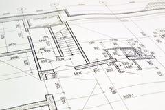 Dibujo de un plan de piso del edificio Fotografía de archivo libre de regalías