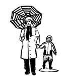 Dibujo de una abuela cómica que camina con su nieto en la lluvia, bosquejo del ejemplo a mano Imagen de archivo