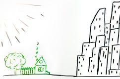 Dibujo de una casa en el pueblo y la ciudad Imágenes de archivo libres de regalías