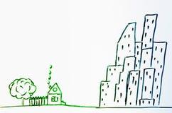 Dibujo de una casa en el pueblo y la ciudad Imagen de archivo libre de regalías