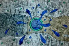 Dibujo de una mano con un reloj en un fondo abstracto Fotografía de archivo