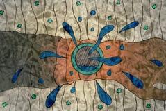 Dibujo de una mano con un reloj en un fondo abstracto Imagenes de archivo