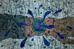 Dibujo de una mano con un reloj en un fondo abstracto Imagen de archivo