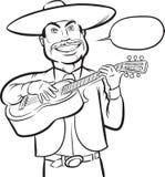 Dibujo de Whiteboard - mariachi cantante sonriente permanente ilustración del vector