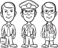 Dibujo de Whiteboard - político del hombre de negocios de tres profesionales de la historieta ilustración del vector