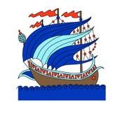 Dibujo decorativo de la nave turca en el viejo estilo de la moda, galeón romano libre illustration