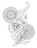 Dibujo decorativo de las flores, de los modelos y de las mandalas de la peonía Imagen de archivo