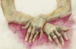 dibujo del Agua-color de las manos de los seres humanos Fotos de archivo libres de regalías