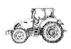 Dibujo del arte del ejemplo del tractor agrícola Imágenes de archivo libres de regalías