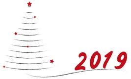 Dibujo del avión del árbol de navidad con las estrellas rojas libre illustration