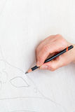 Dibujo del bosquejo en la lona de seda imagen de archivo libre de regalías