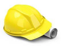 Dibujo del casco y de construcción Fotos de archivo