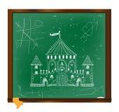 Dibujo del castillo en arte de la pizarra Imagen de archivo libre de regalías