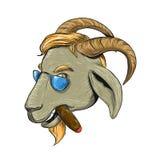 Dibujo del cigarro de la cabra de la cadera que fuma Imagen de archivo