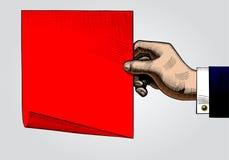 Dibujo del color del vintage de la mano con una hoja de papel roja stock de ilustración