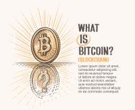 Dibujo del concepto de la moneda del bitcoin y de su reflexión con el signo de interrogación que simboliza la explicación de esta Fotos de archivo