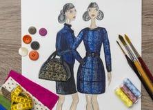 Dibujo del diseñador de moda Imagen de archivo