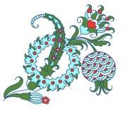 Dibujo del diseño turco del estampado de flores de flor y de fruta decorativas de la granada libre illustration