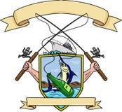 Dibujo del escudo de armas de la botella de cerveza de Rod Reel Blue Marlin Fish de la pesca stock de ilustración