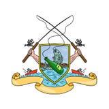 Dibujo del escudo de armas de la botella de Rod Reel Hooking Fish Beer de la pesca ilustración del vector