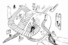 Dibujo del estilo de Escher Imagen de archivo