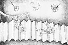 Dibujo del estilo de Escher Imágenes de archivo libres de regalías