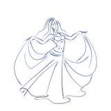 Dibujo del gesto del bosquejo de la tinta de la bailarina de la danza del vientre stock de ilustración