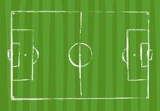 Dibujo del grunge del campo de fútbol - ejemplo del vector Imágenes de archivo libres de regalías