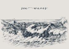 Dibujo del mar o de las olas oceánicas ilustración del vector