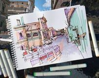 Dibujo del marcador del paisaje de la calle de Roma Italia, bosquejo urbano foto de archivo
