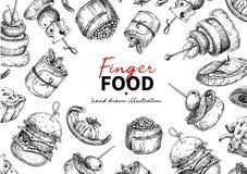 Dibujo del marco del vector del comida para comer con los dedos Templat de abastecimiento del marco del servicio fotos de archivo